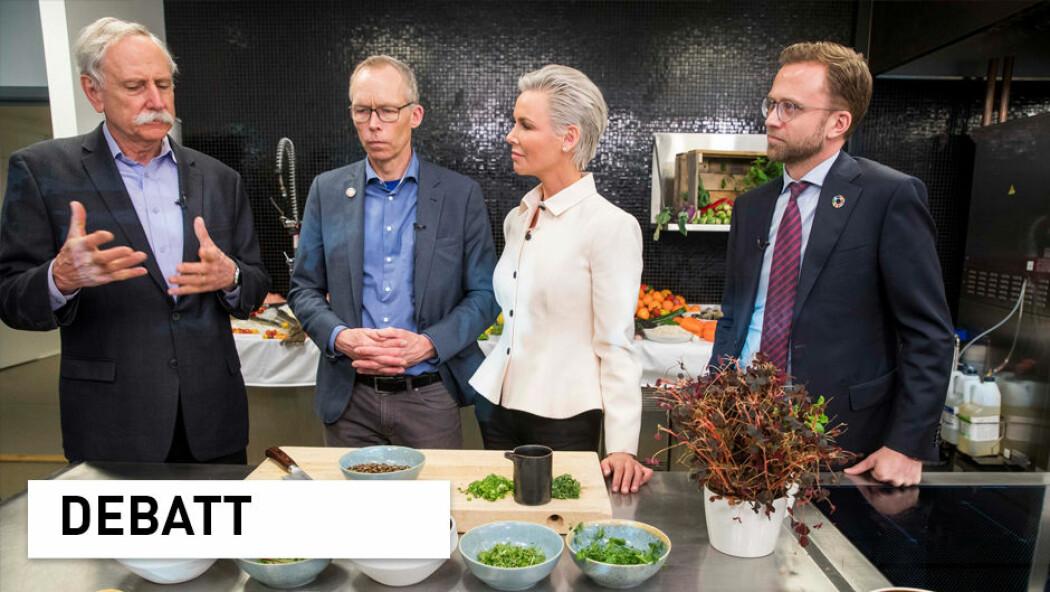 (Foto: Walter Willett, Johan Rockström , Gunnhild Stordalen og utviklingsminister Nikolai Astrup presenterte hovedfunnene i EAT-Lancet-rapporten i januar. (Foto: Terje Pedersen / NTB scanpix)