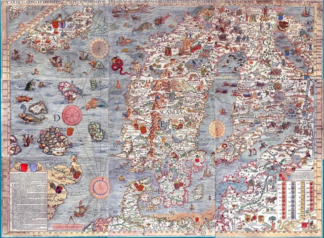 Carta Marina, tegnet av den svenske presten Olaus Magnus og trykt i Venezia i 1539. Nye satelittmålinger viser de samme røde virvlene utenfor Lofoten som de som ble tegnet i 1539. (Illustrasjon: Olaus Magnus)