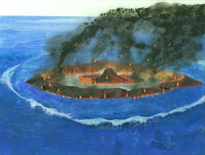 Da Mjølnir-meteoritten slo ned i paleo-Barentshavet tok havbunnen fyr og I løpet av sekunder ble det dannet et krater på omlag 40 km I diameter (Illustrasjon: Jon Reiserstad).