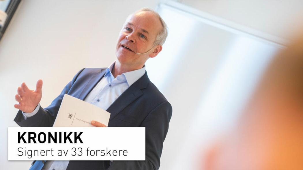 – Vi mener valget Kunnskapsdepartementet har foretatt her er samfunnsmessig og faglig problematisk, samt sender svært uheldige signaler til alle deler av skole-Norge, skriver kronikkforfatterne. (Foto: Berit Roald / NTB scanpix)