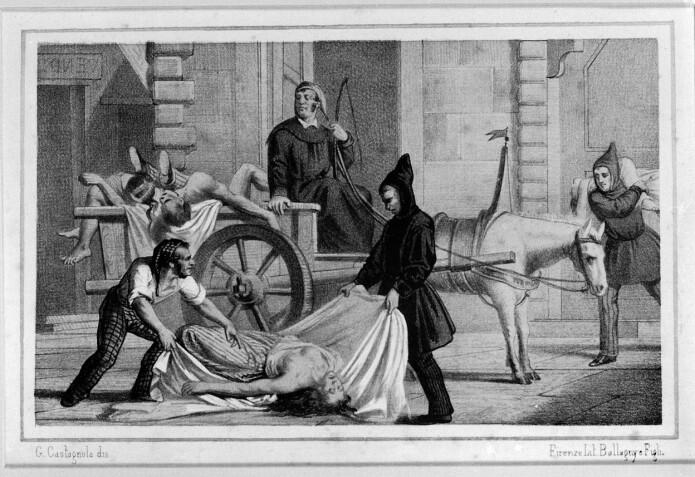 Denne litografien viser fjerningen av lik under koleraepidiemen i Palermo i Italia i 1835. (Illustrasjon: Gabriele Castagnola / Wellcome Images / CC BY 4.0)