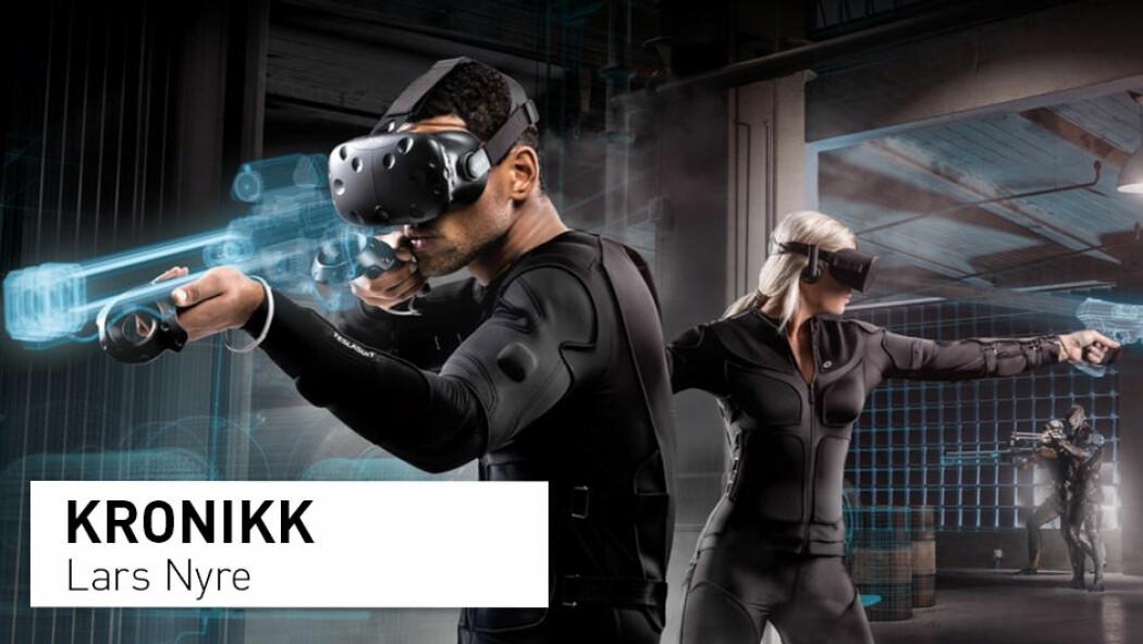 – VR-dressen kan simulera både dei verste og dei beste sanseopplevingane frå verkelegheita. Dette gjer den minst like transgressiv som både dronar og ansiktsgjenkjenning i mediesamfunnet, og den er potensielt mykje farlegare for menneskekroppen, skriv kronikkforfattaren. (Foto/illustrasjon: Teslasuit)