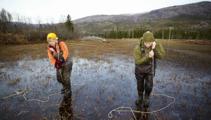 Behandlingen av Fustvatnet, som er en del av smitteregion Vefsna i Nordland, foregikk i oktober. Her går ansatte på is og trekker en båt som sprøyter innsjøbredden med fortynnet rotenon etter seg. (Foto: Dag Karlsen)