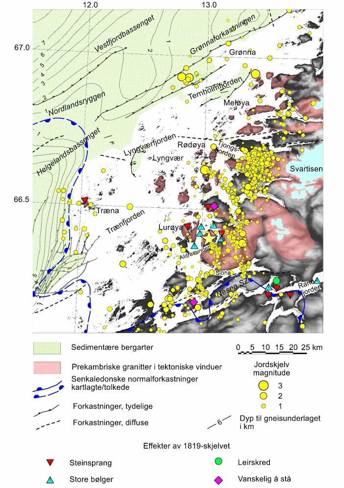 Jordskjelv på Helgelandskysten i periodene 1997-1998 og 2013- 2017 (fra forskningsprosjektene NEONOR1 og NEONOR2). En sverm med ca. 500 skjelv ble registrert i 2015 rundt Blokktinden vest for Svartisen. Til sammen 30-40 ble utløst i disse to periodene langs de østlige begrensningene av Vestfjordbassenget (Grønnaforkastningen) og Helgelandsbassenget og antyder at forkastninger i disse områdene er aktive. Observerte effekter av jordskjelvet i Lurøy- Ranafjordområdet i 1819 er også vist (fra Bungum & Selnes 1988). Den gule stjernen viser omtrentlig plasseringen av dette skjelvet.