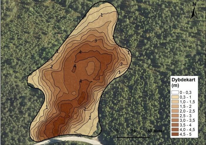 Profilkart over Storamyri, Kaupanger, Sogn basert på djupnemålingar med georadar. (Illustrasjon: Høgskulen på Vestlandet)