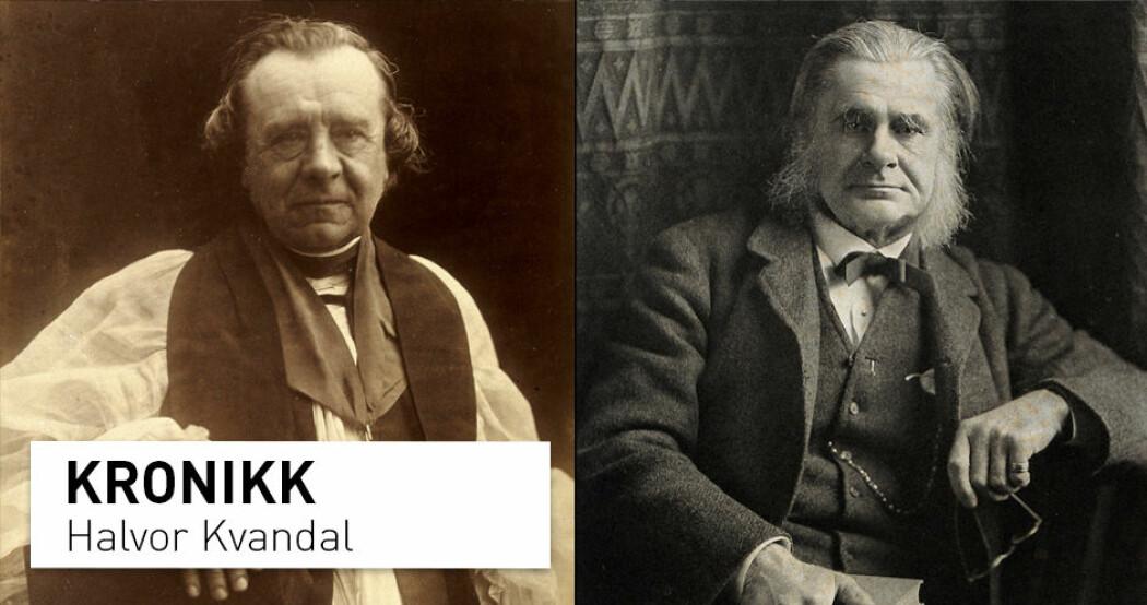 På 1800-tallet hadde den anglikanske biskopen Samuel Wilberforce (til venstre) og Darwin-forkjemperen Thomas Henry Huxley, kjent som «Darwin's bulldog», hadde en opphetet utveksling om evolusjonsteorien. Men hvordan står det til mellom vitenskap og religion i dag? (Foto til av Wilberforce: Julia Margaret Cameron. Foto til Huxley: Elliott & Fry. Begge via Wellcome Collection / CC BY)