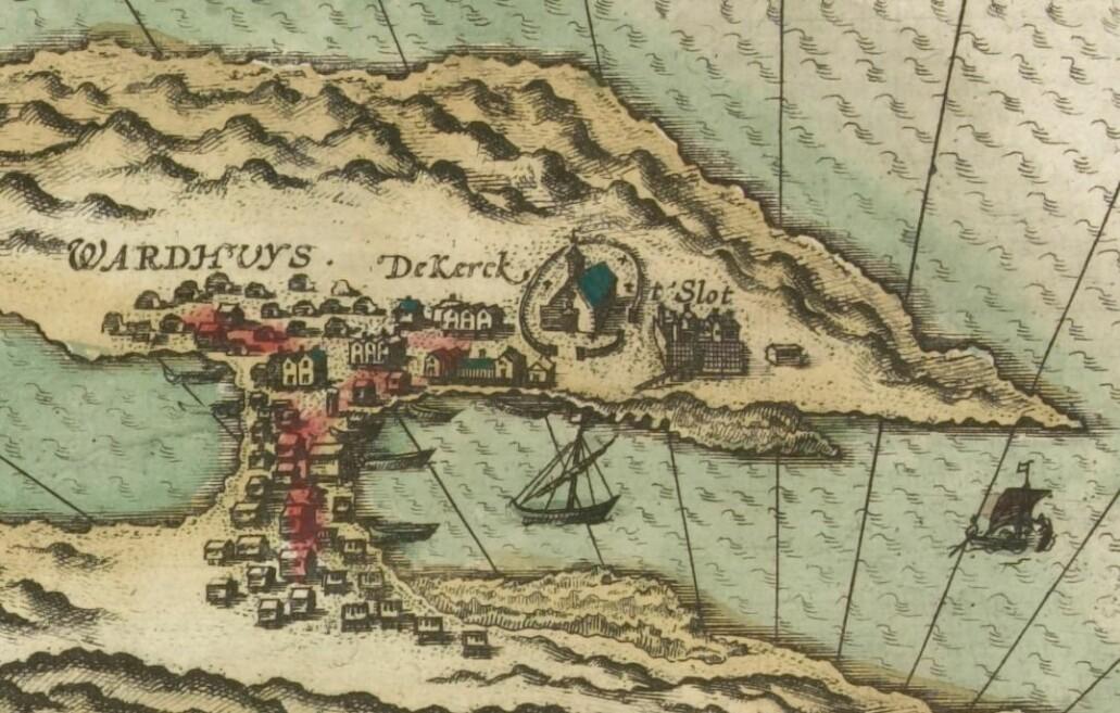 Jan Huygen van Linschotens kart fra 1594 er det eldste av de bevarte kartene som viser borgen i Vardøhus. Her ser vi en nær kvadratisk ringmursborg på den østre siden av Østervågen, ikke langt fra kirken. (Kilde: Nasjonalbibliotekets kartsamling, Kart 1641)