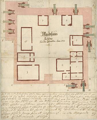 <i>Wardehuus Festning Som dend befandtis Anno. 1711.</i> (Tegnet av Isaac Olsen, kilde: Riksantikvarens tegningsarkiv)