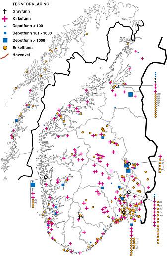 Her ser du et kart over funn av mynter som stammer fra årene fra 1050 og 1319.