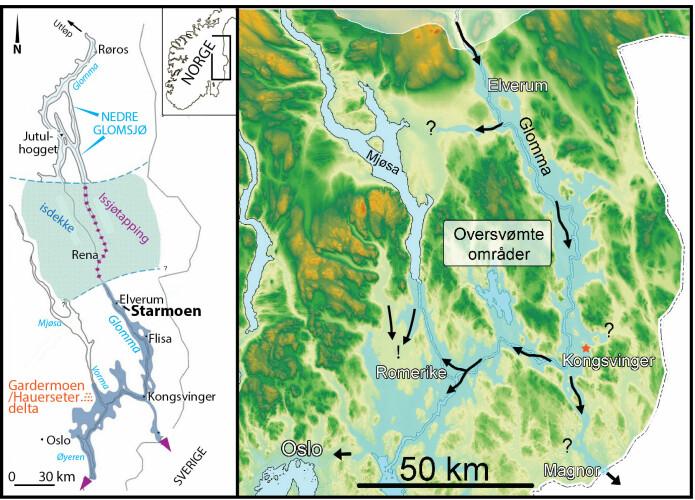 Til venstre: Oversiktskart over Østerdalen med plassering av Nedre Glomsjø, som ble tappet på slutten av siste istid. Oversvømte områder er markert i blått. Plasseringen av Starmoen naturreservat ved Elverum og den mektige grusavsetningen ved Gardermoen nord for Oslo er også vist. Til høyre: Terrengmodell med oversvømte områder fra bresjøtapningen (lys blå). De svarte piler viser omtrentlige strømretninger. Studieområdet er markert med rød stjerne. Merk pilene sør for Mjøsa som viser at det også her er sanddyner som ser ut til å være avsatt av ekstremflommer fra nord i retning mot Romerike. Disse dynene ligger høyt i terrenget og kan være fra en tidligere bresjøtapning. Disse tolkningene åpner for muligheten at hele eller deler av selveste Gardermoen-avsetningen også er et resultat av bresjøtapning(er) på et tidligere tidspunkt under isavsmeltingen.