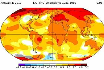 2019 var det nest varmeste året på over 100 år, ifølge NASA