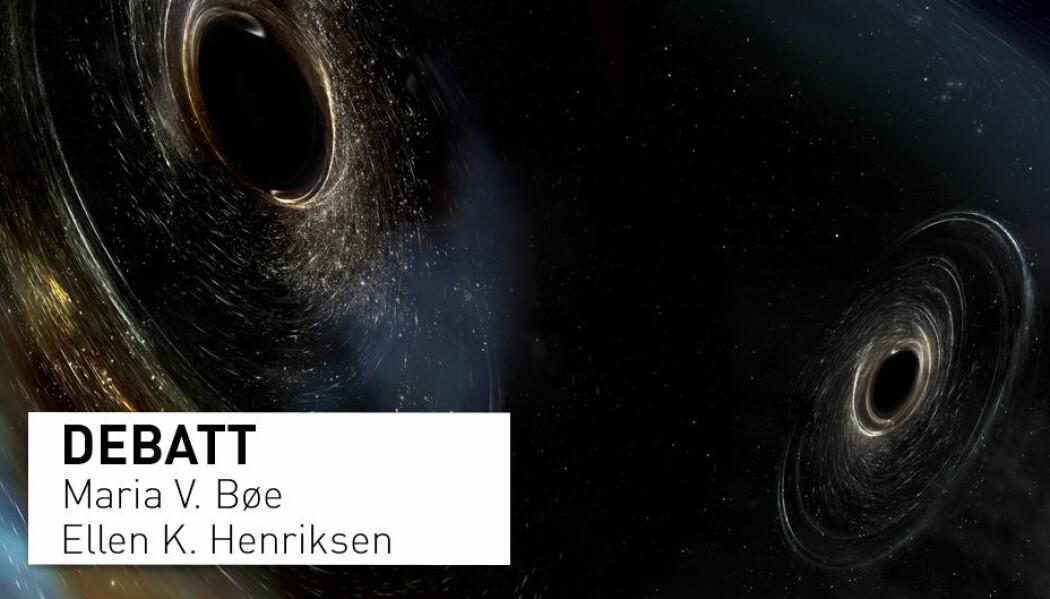 Illustrasjonen viser to svarte hòl er i ferd med å smelte saman. For ikkje lenge sidan fanga forskarar opp gravitasjonsbølgjer frå ei slik hending. Dette er ny forsking som truleg ikkje blir ein del av pensum for fysikkelevar på vidaregåande skule.