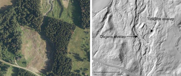 Flyfoto og lyssatt høyoppløselig terrengmodell fra elva Djupa i Gausdalen. I bildet til høyre ser man elveformer, som er et bevis på stor massetransport.