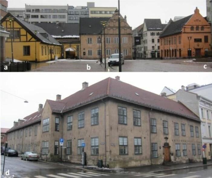 """Bygninger fra 1600-tallets Oslo. Øverst sees Christiania torg, """"Stortorget"""" i Oslo etter 1624, a: Det eldste bindingsverkshuset i Oslo, fra 1640-årene, b: Det eldste huset i Oslo, fra 1626, bygget av rådmannen, c: Det første rådhuset bygget i 1641, og d: Kristiania oppfostringshus (1778-1917) bygget i 1640. Fasadematerialer: Vegger med malt kalkpuss (a,c), murstein (b) and grov umalt sandholdig puss (d); piper med umalt puss og murstein (d); beiset treverk i veggstolpene (a) og malte vindus- og dørkarmer i tre; glaserte og ubehandlede (d) takstein; galvaniserte og malte metallelementer."""