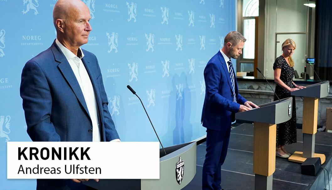Helsedirektør Bjørn Guldvog, helse- og omsorgsminister Bent Høie (H) og avdelingsdirektør i Folkehelseinstituttet Line Vold under regjerings pressekonferanse om koronasituasjonen i Oslo i juli.
