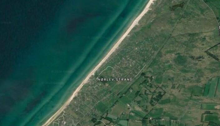 Satellittfoto av Nørlev Strand, som ligger ved Skallerup Klit.