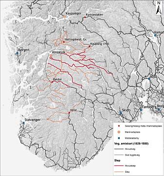 Kartet viser dei mest sentrale vegane i Sør-Noreg, utarbeidd på bakgrunn av historiske kart, samt ulike lokalhistoriske studiar.