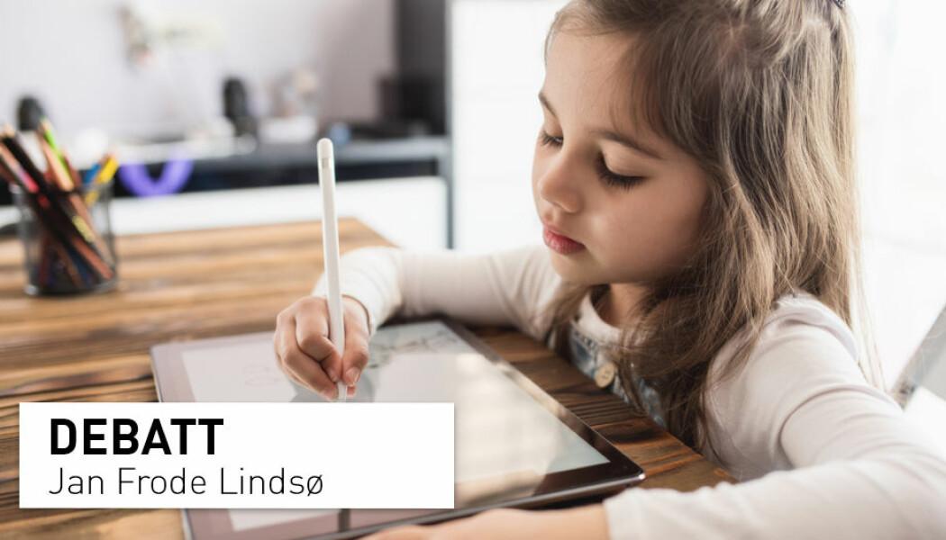 – Man kan strekke seg til å si at 12 barn fra Steinerskolen, som hadde mye erfaring med skriving og tegning, og som ikke hadde hverken dysleksi, ADHD eller var født premature, hadde en annen hjerneaktivitet når de skrev med løkkeskrift enn ved å skrive med én finger på et tastatur uten skjerm. Men å påstå at dette beviser at barn blir smartere av skrive for hånd enn ved bruk av tastatur er usant og grenser til det useriøse, skriver Jan Frode Lindsø.