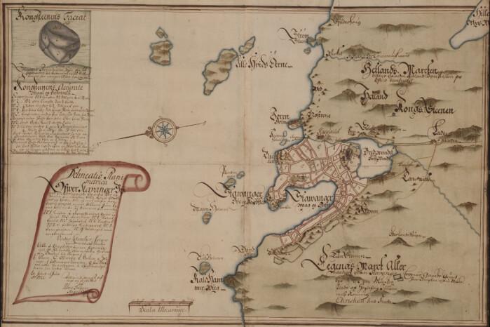 På Stavangers eldste bykart 1726 er Kongssteinen tegnet inn med mål.