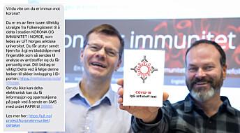 Til deg som denne uken får en SMS fra UiT:Vi ønsker å finne ut om akkurat du er immun mot korona
