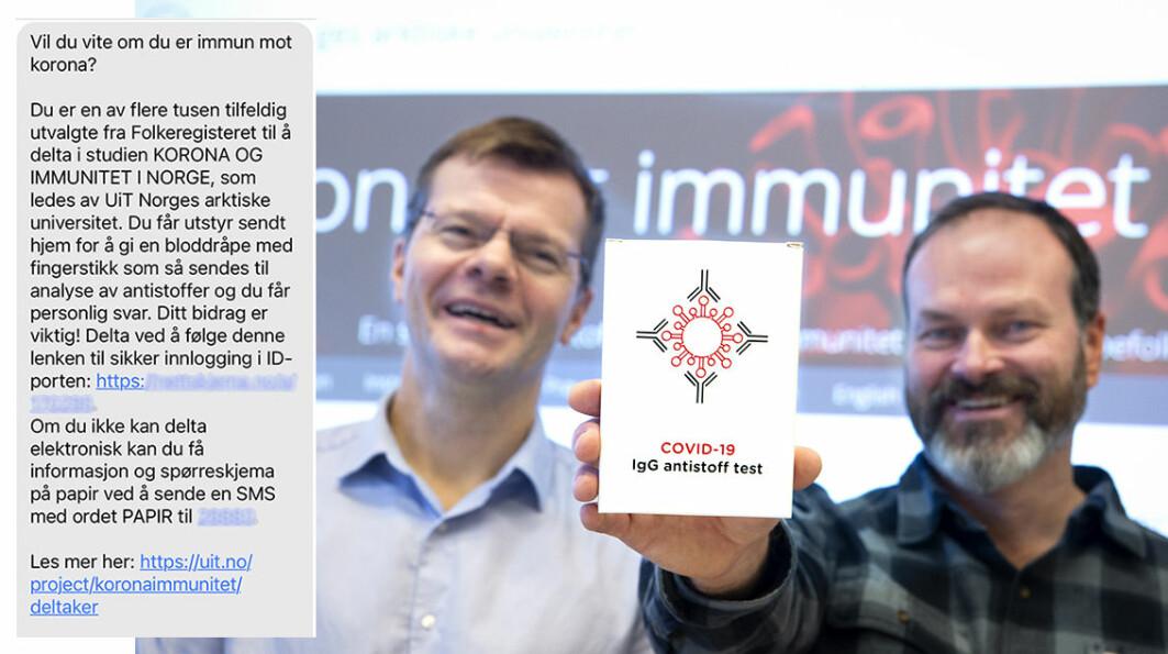 Slik ser SMS-en ut som 100.000 tilfeldig utvalgte nordmenn får denne uken. Lenken som er sladdet sørger for sikker innlogging og mulighet til å delta i forskningen til professor Torkjel Sandanger (t.v) og førsteamanuensis Erik Eik Anda.