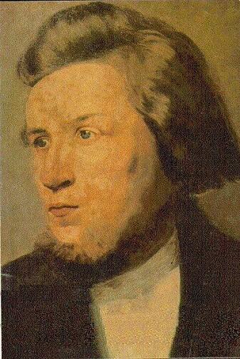 Portrett av Hans Nielsen Hauge, malt i København av ukjent kunstner rundt år 1800.