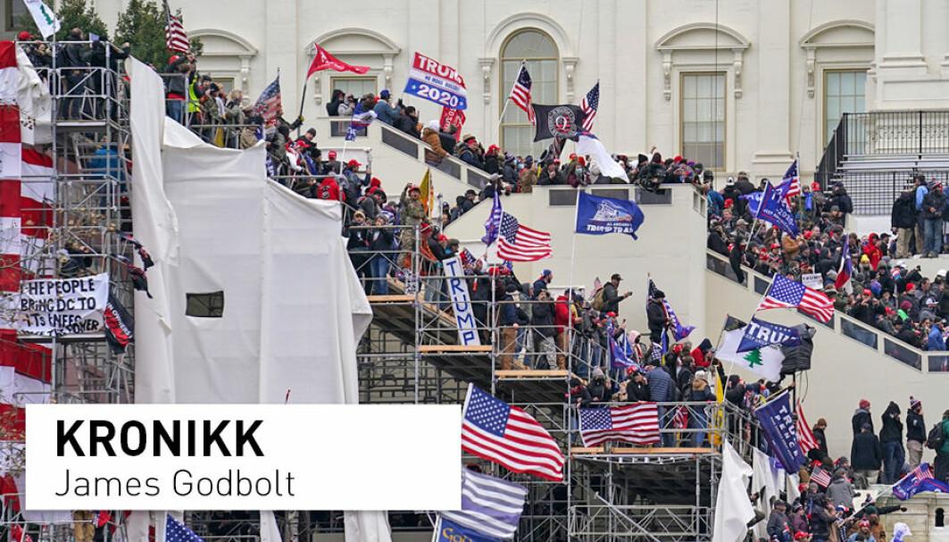 6. januar i år vart den amerikanske Kongressen storma i eit valdeleg opprør. Amerikanarane står unekteleg overfor ei alvorleg og truleg langvarig politisk krise, ikkje ulik den i slutten av 1960-åra, skriv historikar James Godbolt.