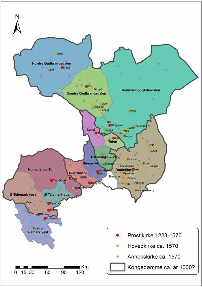 Kartet viser de fire kongedømmene Olav kjempet mot og underinndelingen av dem i tredinger, eller prostier. De røde er Olavs kirkeorganisasjon.