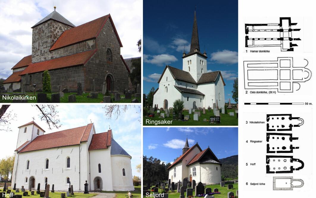 Noen av Olavs fylkeskirkesteder der det på 1100-tallet ble bygget mer fornemme kirker.