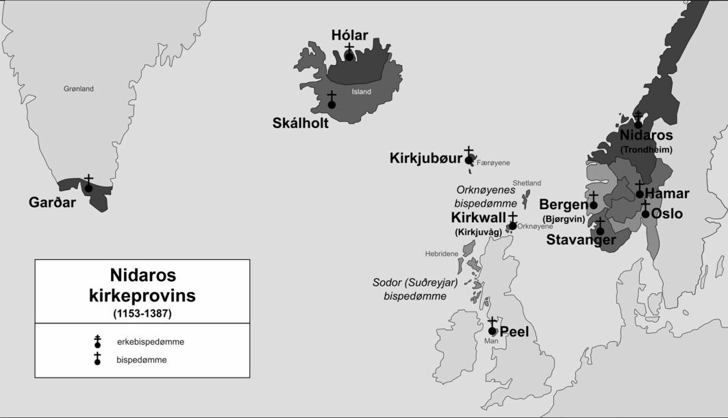 Området for Hamar bispedømme, Upplǫnd, var det sist kristnede norrøne området i Norge. Nidaros kirkeprovins ca. 1153