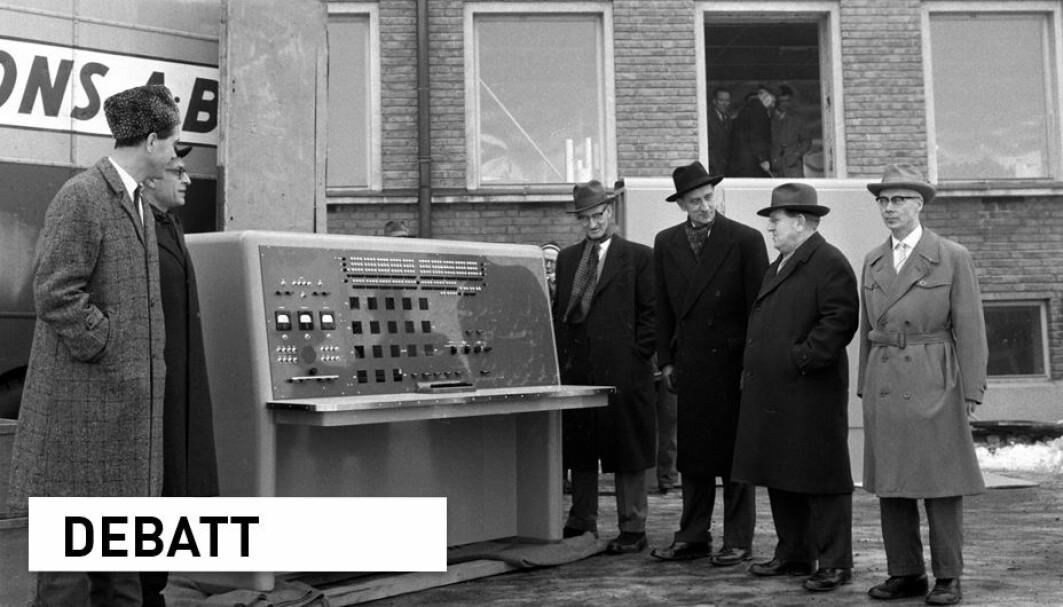 Hva kunne disse herrene ved Meteorologisk institutt si med sikkerhet om de forestående klimaendringene da de inspiserte denne topp moderne datamaskinen i 1961?