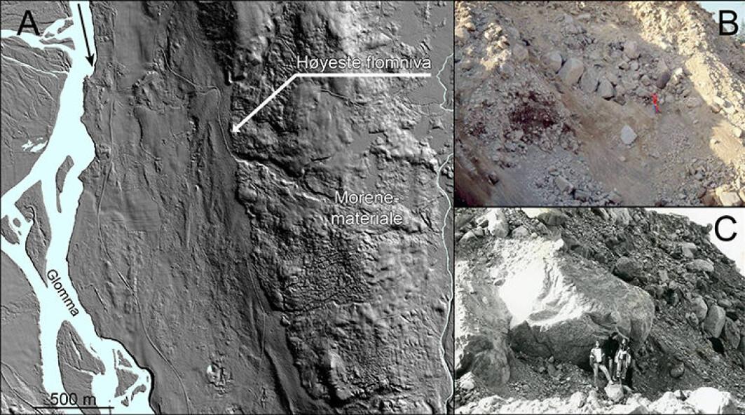Fig. 2. Eksempel på erosive linjer i terrenget (A) og blokkstørrelser (B, C), som er benyttet i forbindelse med den hydrauliske simuleringen. Merk forskjellen mellom terrenget over og under det høyeste flomnivået i LiDAR-figuren (A). Fotoene er fra Elverum, og er tatt av Arne Solli (B) og Oddvar Longva (C).