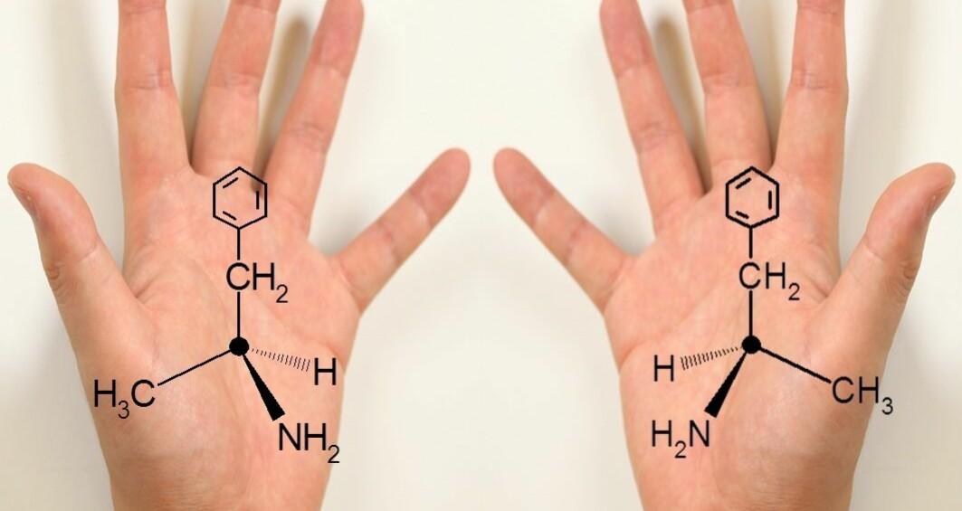 Amfetaminmolekyler kan finnes i speilvendte varianter, såkalte kirale former. Om det er venstrevridd eller høyrevridd kan si noe om hva slags amfetamin det er - om det er lovlig eller ulovlig.