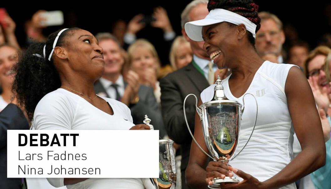 Venus Williams og søsteren Serena Williams er blant verdens beste idrettsutøvere, og de er veganere. Vi er overrasket over at Idrettshøyskolen fortsatt synes å tro på myten om at animalske proteiner er av bedre kvalitet og skulle bidra til bedre idrettspresentasjoner, skriver innsenderne.