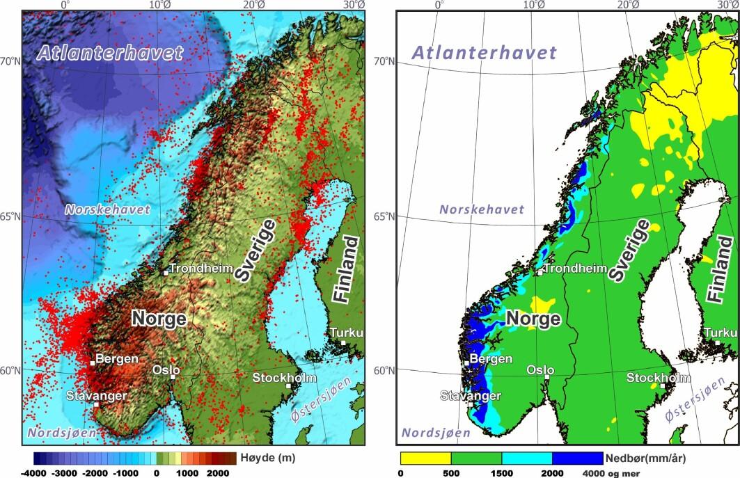 Illustrasjonen viser seismisk aktivitet i jordskorpa og nedbørsnivåer. Det er et sammenfall mellom høy aktivitet langs vestlandskysten og Helgelandskysten.
