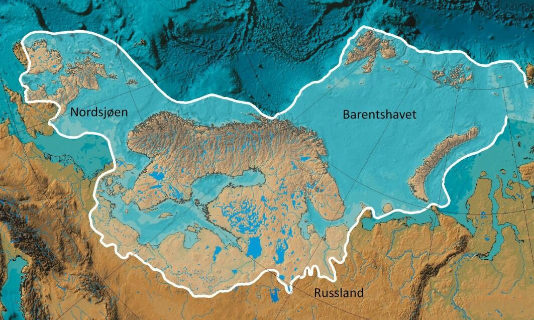 Kart som viser utbredelsen av isbrekappen over Nord-Europa for ca. 20 000 år siden. Breen over Skandinavia hadde vokst sammen med breen over Barentshavet-Svalbard og breen over Storbritannia. Den globale middel-temperatur var den gangen bare ca. 6 °C kaldere enn i dag.