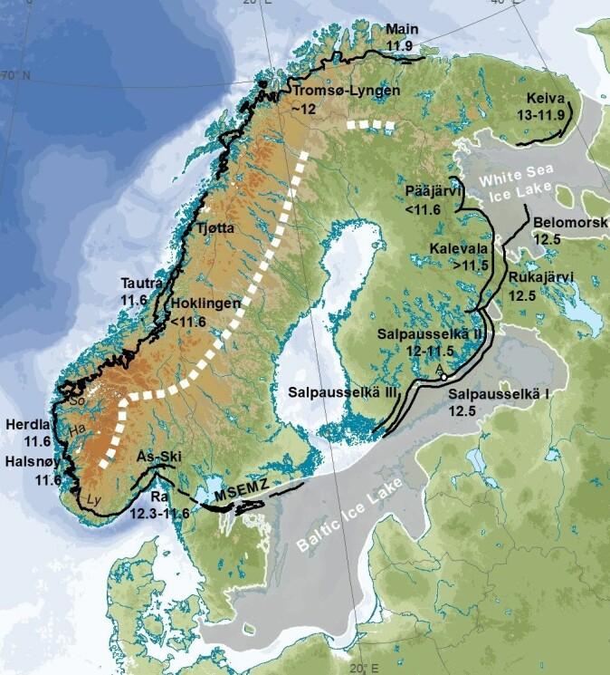 Kart som viser morenene som ble dannet rundt isbredekket under Yngre Dryas. Her er også vist navnet på morenene og aldrene er gitt i tusen år (11.6 = 11 600 år). MSEMZ i Sverige betyr Den mellomsvenske endemorene-sonen. Dette er den eneste morenen som kan følges rundt hele isbredekket og det viser at Yngre Dryas var noe spesielt.