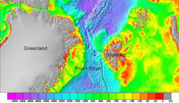 Dybdekart over ekspedisjonsområdet utenfor Svalbard.