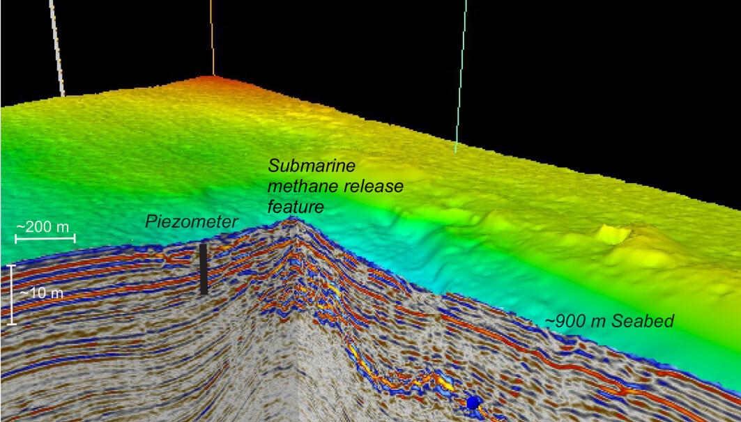 Dataene som ble tatt opp av piezometeret viste at trykket gikk ned mot negative verdier samtidig som tidevannet gikk ned, noe som indikerer gass i sedimentene. Videre økte trykket når tidevannet steg, som i motsatt fall indikerer fravær av gass i sedimentene.