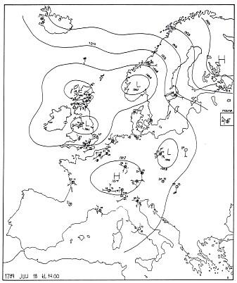 Værsituasjonen i Europa 18. juli 1789.