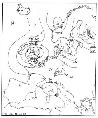 Værsystemene i Europa 22. juli 1789.