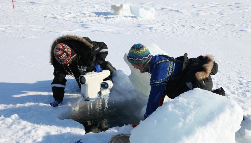Med dette apparatet har forskerne kunnet filme under isen.