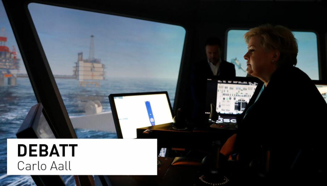 Erna Solberg mener en spørreundersøkelse viser at nordmenn er opptatt av å beholde oljenæringen, men det er det undersøkelsen egentlig viser? Carlo Aall gir sin tolkning. Her fra Solbergs besøk ved simulatorsenteret ved Norsk Maritimt Kompetansesenter i Ålesund.