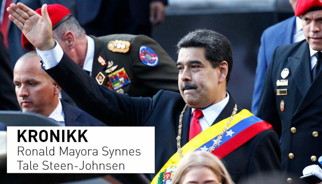 President Maduros posisjon i Venezuela er omstridt både nasjonalt og internasjonalt. Opposisjonen i landet har funnet støtte i flere andre land, som har innført sanksjoner mot Venezuela. De økonomiske sanksjonene skal ha forårsaket 40 000 dødsfall grunnet mat- og medisinmangel, skriver kronikkforfatterne.