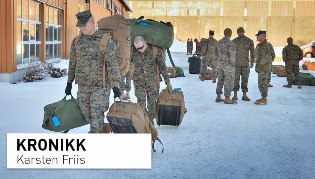 Kritikere mener avtalen om forsvarssamarbeid med USA «vil gi USA et historisk fotfeste i Norge» og «i praksis» amerikanske militærbaser i Norge, skriver Karsten Friis. Her fra Stjørdal i 2017 da amerikanske soldater ankom trening under vinterforhold med norske avdelinger.
