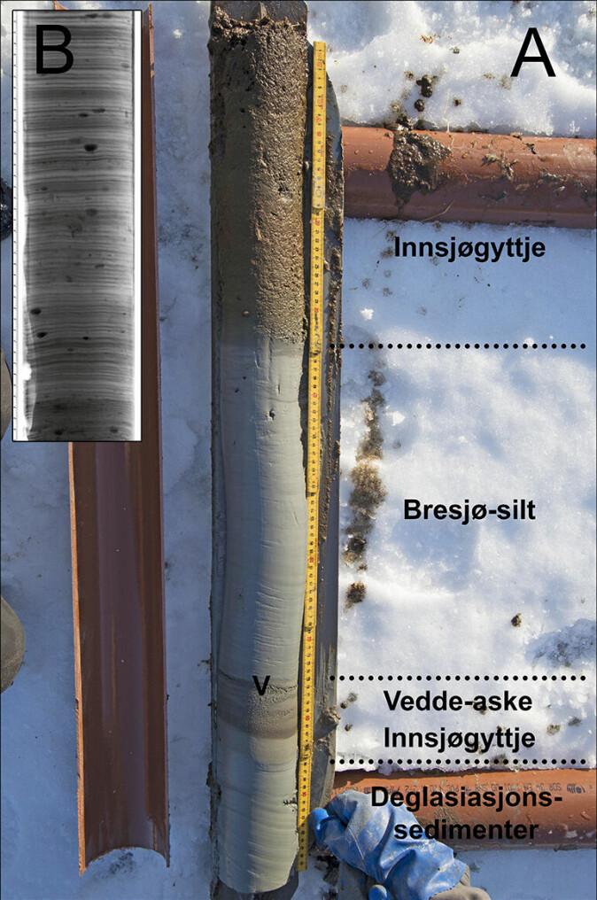 Figur 3. Bilde av kjerne (A) som viser Vedde-asken og et organisk-rikt lag under bresjø-silt knyttet til en bredemt sjø under Tautra-trinnet. B er et røntgenbilde av en kjerne fra et annet basseng som viser en rekke droppstein (svarte prikker) i laminert bresjø-silt.